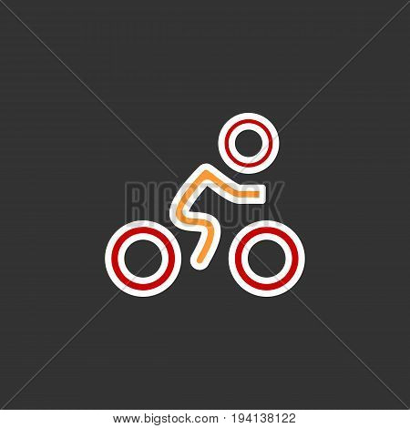 Cyclist icon. Simple flat logo of cyclist on black background. Silhouette of a cyclist. Vector flat illustration. Eps 10