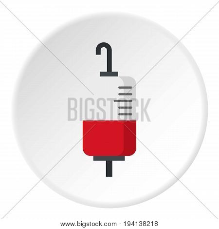 Package for blood transfusion icon in flat circle isolated vector illustration for web