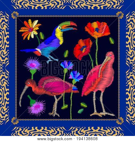 Silk scarf pattern with toucan, ibises and flowers. Colorful framed composition with bohemian motifs.