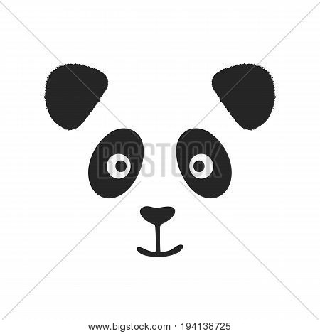 Face of smiling panda with fluffy ears. Print logo sketch. Vector illustration.