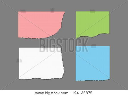 Ragged colored sheets and fragments of adhesive tape. Set of pink green white blue pieces of torn paper. Four templates with shadow isolated on a dark gray background. Vector illustration.