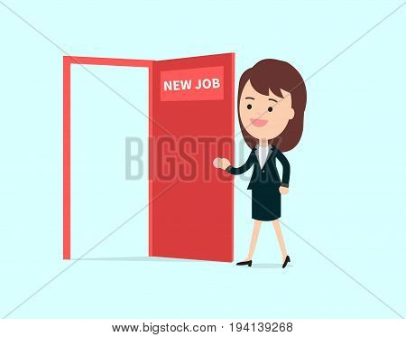 Businesswoman walk and open red door with new job text vector illustration.Business girl cartoon character design happy to new job