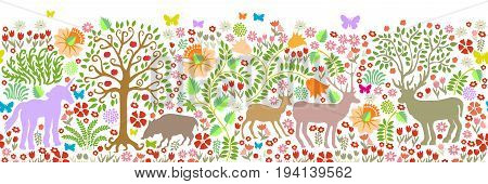 Fantasy animals in the forest. Deer, roe, boar, trees, blooming floral carpet.