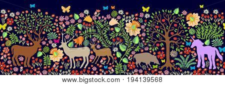 Fantasy animals in the dark forest. Deer, roe, boar, trees, blooming floral carpet.