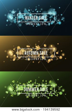 Winter sale. Autumn sale. Summer Sale. Background of multicolored lights. Glare bokeh. White rectangular banners. Flying leaves of maple. Flying snowflakes. Vector illustration