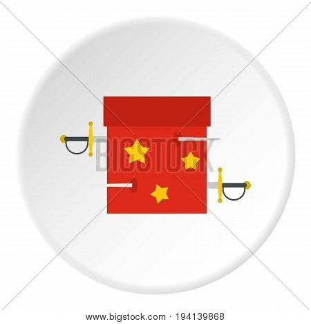 Box of tricks with daggers icon in flat circle isolated vector illustration for web