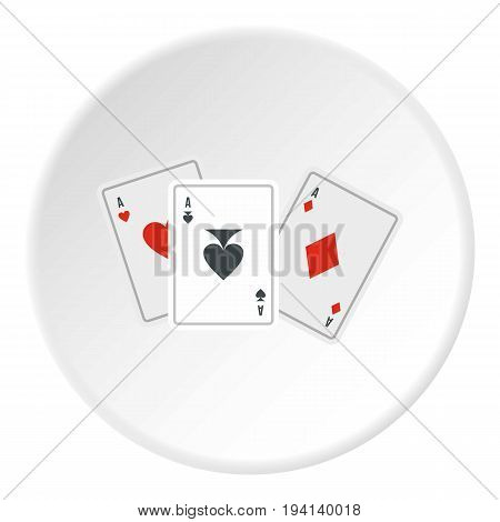 Playing cards icon in flat circle isolated vector illustration for web