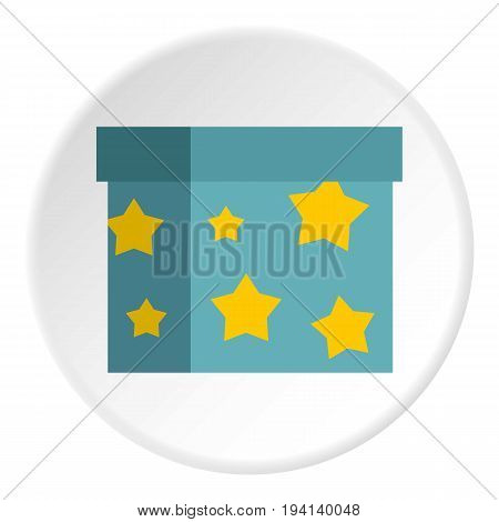 Box to perform tricks icon in flat circle isolated vector illustration for web