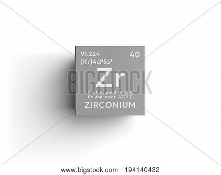 Zirconium. Transition metals. Chemical Element of Mendeleev's Periodic Table. Zirconium in square cube creative concept.