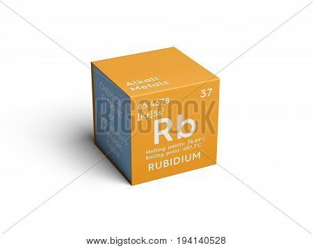 Rubidium. Alkali metals. Chemical Element of Mendeleev's Periodic Table. Rubidium in square cube creative concept.