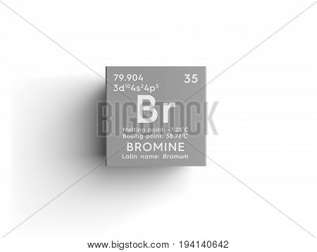 Bromine. Bromum. Halogens. Chemical Element of Mendeleev's Periodic Table. Bromine in square cube creative concept.