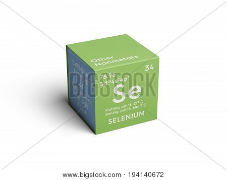 Selenium. Other Nonmetals. Chemical Element of Mendeleev's Periodic Table. Selenium in square cube creative concept.