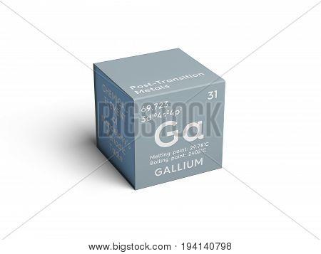 Gallium. Post-transition metals. Chemical Element of Mendeleev's Periodic Table. Gallium in square cube creative concept.