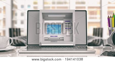 Online money concept. ATM machine on a laptop screen - office background. 3d illustration