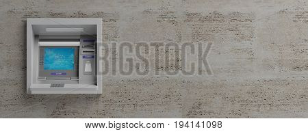 Atm Machine On Stone Tiles Background. 3D Illustration
