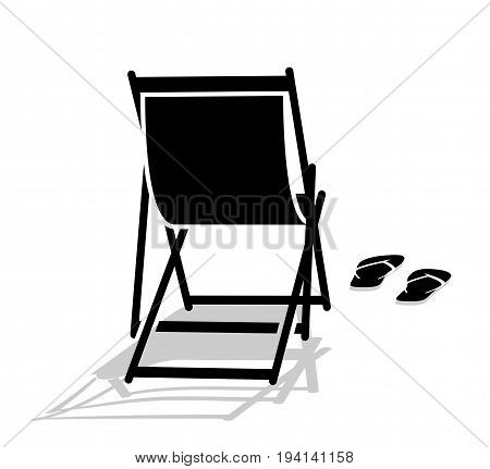 vector deck chair and flip flops isolated on white background