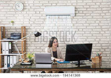 Happy Young Businesswoman Working In Office With Air Conditioning