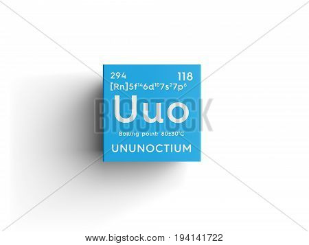 Ununoctium. Noble gases. Chemical Element of Mendeleev's Periodic Table. Ununoctium in square cube creative concept.