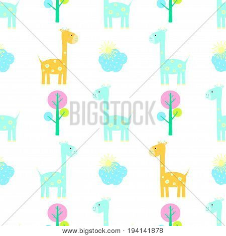 Giraffe seamless pattern vector childlike, little wildlife, baby