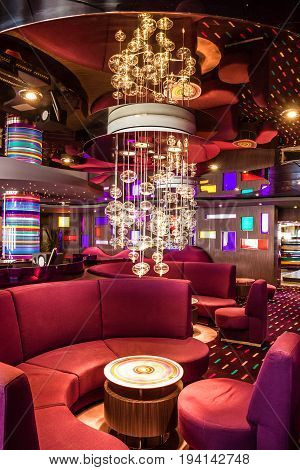 Cruise liner Splendida - May 12, 2017: Interior of cruise liner Splendida bar