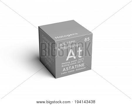 Astatine. Astatium. Halogens. Chemical Element of Mendeleev's Periodic Table. Astatine in square cube creative concept.