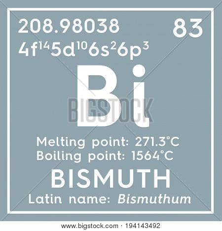 Bismuth. Bishmuthum. Post-transition metals. Chemical Element of Mendeleev's Periodic Table. Bismuth in square cube creative concept.