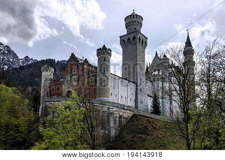 Castle Neuschwanstein architectue in Bavaria, Germany landmark