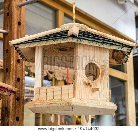 Wooden birdhouse. Nesting box, handmade home view