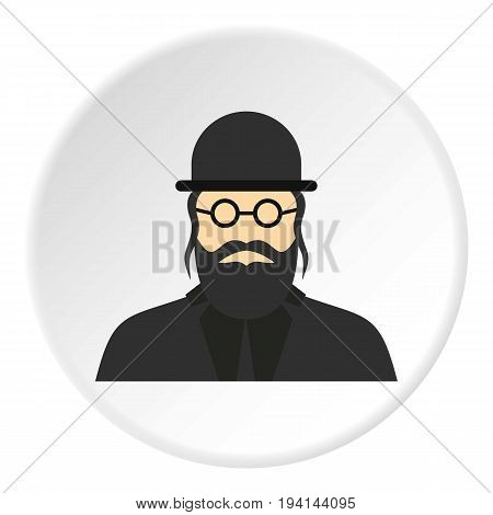 Jewish rabbi icon in flat circle isolated vector illustration for web