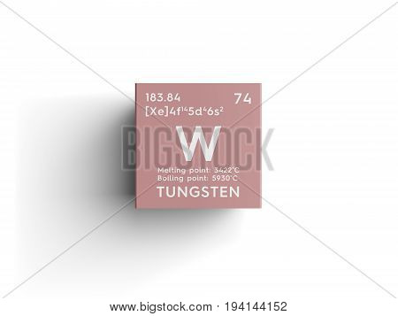 Tungsten. Transition metals. Chemical Element of Mendeleev's Periodic Table. Tungsten in square cube creative concept.