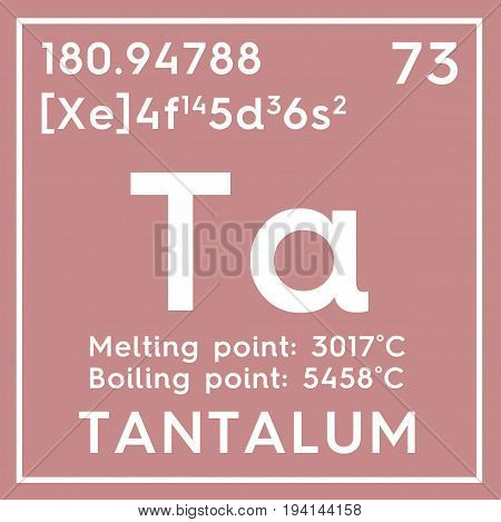 Tantalum. Transition metals. Chemical Element of Mendeleev's Periodic Table. Tantalum in square cube creative concept.
