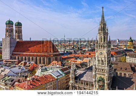 Munich, Bavaria, Germany. Frauenkirche and town hall on Marienplatz
