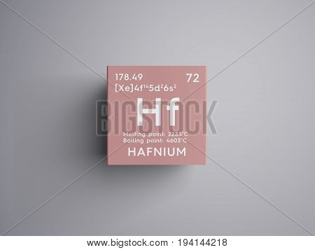 Hafnium. Transition metals. Chemical Element of Mendeleev's Periodic Table. Hafnium in square cube creative concept.