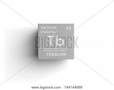 Terbium. Lanthanoids. Chemical Element of Mendeleev's Periodic Table. Terbium in square cube creative concept.