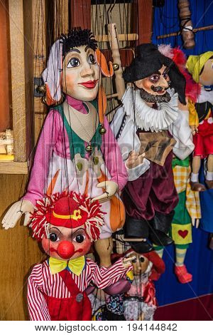 PRAGUE, CZECH REPUBLIC - MAY 2, 2016: Marionette shop in Prague, Czech Republic