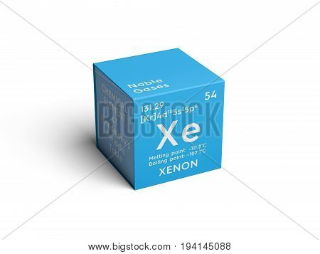 Xenon. Noble gases. Chemical Element of Mendeleev's Periodic Table. Xenon in square cube creative concept.