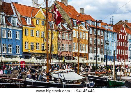 Copenhagen, Denmark - July6, 2017: Seafront Nyhavn in Copenhagen, Denmark