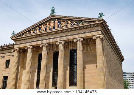Details of the Museum of Art Philadelphia, Pennsylvania, USA
