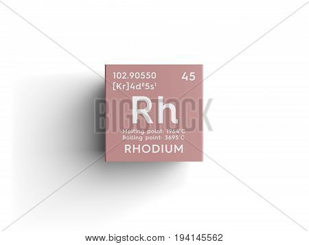 Rhodium. Transition metals. Chemical Element of Mendeleev's Periodic Table. Rhodium in square cube creative concept.
