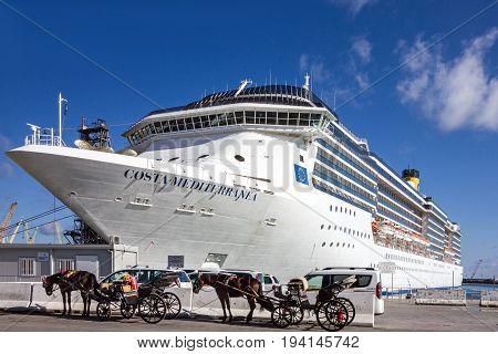 Palermo, Italy - july4, 2017: Cruise liner Costa Mediterranea in sea port Palermo, Sicily, Italy