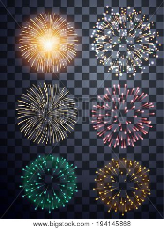abstract fire work set on transparent background