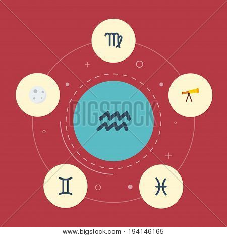 Flat Icons Optics, Water Bearer, Fishes And Other Vector Elements. Set Of  Flat Icons Symbols Also Includes Lunar, Fishes, Aqurius Objects.