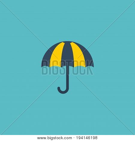 Flat Icon Umbrella Element. Vector Illustration Of Flat Icon Parasol  Isolated On Clean Background. Can Be Used As Parasol, Umbrella And Sunny Symbols.