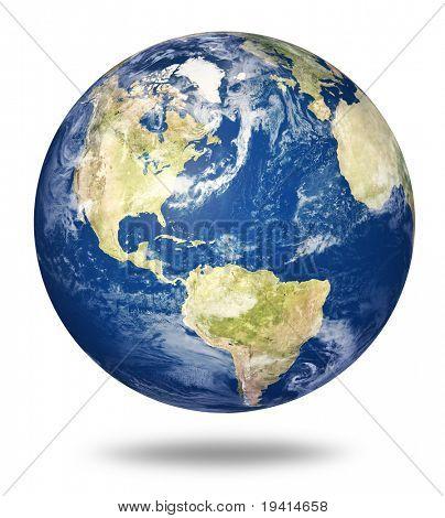 Planetenerde auf weißem Hintergrund - Amerika anzeigen (3d Source Maps - Http://visibleearth.nasa.gov/)