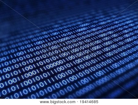 Binary code on detail pixelated screen - 3d render  with selective focus