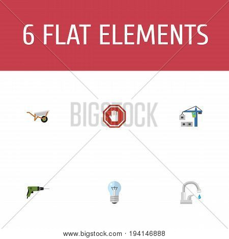 Flat Icons Bulb, Faucet, Hoisting Machine And Other Vector Elements. Set Of Industry Flat Icons Symbols Also Includes Handcart, Crane, Sign Objects.