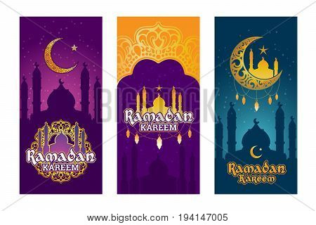 Collection of vector colored banners for Ramadan Kareem with Ramadan elements, towers of mosque, vintage moon and arabic pattern. Set of design elements for Ramadan greeting
