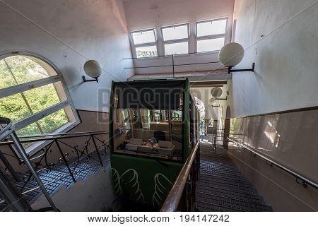 MONTSERRAT, SPAIN - MAY 2017: Railroad funicular at Cremallera de Montserrat station in Montserrat monastery.