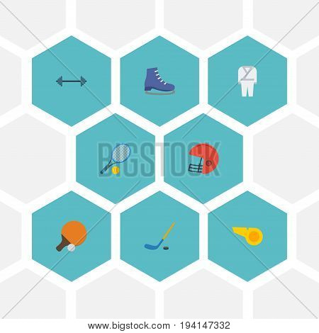 Flat Icons Puck, Table Tennis, Uniform And Other Vector Elements. Set Of Sport Flat Icons Symbols Also Includes Skates, Whistle, Tennis Objects.