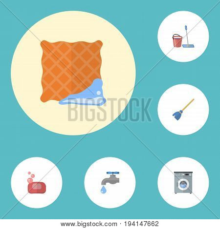 Flat Icons Washcloth, Laundromat, Faucet And Other Vector Elements. Set Of Hygiene Flat Icons Symbols Also Includes Cloth, Clean, Machine Objects.